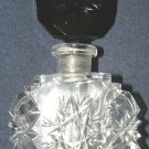 Czechoslovakian Hand Cut Crystal Perfume Bottle - Ebony Stopper