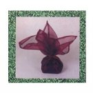 Burgundy Gift Wrap Square Organza Cloth with Ribbon