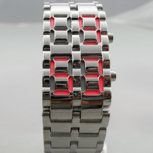 Stainless Silver Steel LED Red Digital Unsex Bracelet Watch