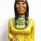 5 ft Cigar Store Indian Maiden w Baby Papoose Hand Carved Wooden YELLOW