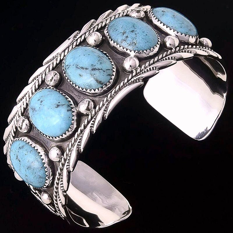 Navajo Sterling Silver 5 Stone Turquoise Bracelet Mens s8