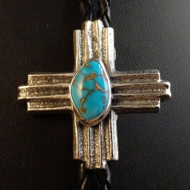 Navajo Sterling Silver Bisbee Turquoise ZIA Symbol Bolo Tie