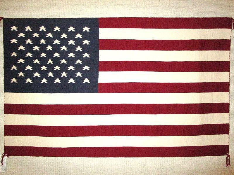 "Vintage Navajo American Flag Wool Rug 35"" x 58"" Made in USA"