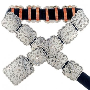 Navajo Hand Hammered Silver Concho Belt Native Made in USA
