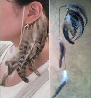 BOHO HIPSTER HIPPIE LONG GRIZZLY FEATHER EAR CUFF EAR WRAP DANGLE CHAINS EARRING