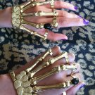 GOLD w/BLACK STONE SKELETON HAND BONE TALON CLAW SKULL BRACELET CUFF FINGER KNUCKLE RING