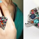 PEWTER LARGE DIAMOND SHAPE SHAPED MULTI COLORED GEMSTONES RING ADJUSTABLE SIZE