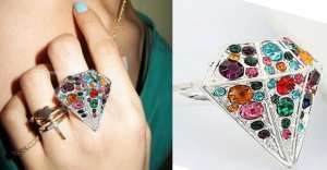 SILVER LARGE DIAMOND SHAPE SHAPED MULTI COLORED GEMSTONES RING ADJUSTABLE SIZE