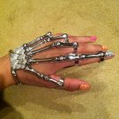 SILVER w/CLEAR STONE SKELETON HAND BONE TALON CLAW SKULL BRACELET CUFF FINGER NAIL KNUCKLE RING