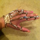 GOLD w/CLEAR STONE SKELETON HAND BONE TALON CLAW SKULL BRACELET CUFF FINGER NAIL KNUCKLE RING