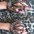 PEWTER w/RED STONE SKELETON HAND BONE TALON CLAW SKULL BRACELET CUFF FINGER KNUCKLE RING