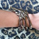 PEWTER SKELETON GRIPPING HAND BONE TALON CLAW SKULL BRACELET CUFF