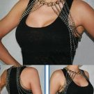 PEWTER SHOULDER NECKLACE LONG BODY CHAIN