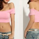 CROP TOP FITTED OFF SHOULDER MIDRIFF PINK