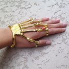 GOLD w/RED STONE SKELETON HAND BONE TALON CLAW SKULL BRACELET CUFF FINGER KNUCKLE RING