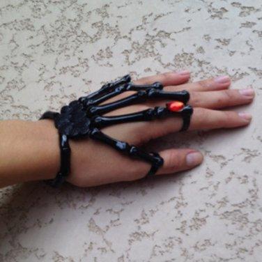 BLACK w/RED STONE SKELETON HAND BONE TALON CLAW SKULL BRACELET CUFF FINGER KNUCKLE RING
