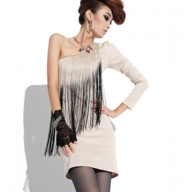 FRINGE TASSEL SEXY MINI DRESS OFF WHITE
