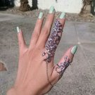 FEATHER CHAIN ROSE TWO FINGER KNUCKLE RING SILVER