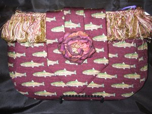 Burgendy fishing tie purse
