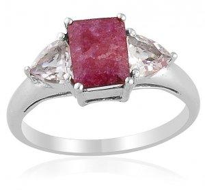 Enhanced Ruby Platinum Bond Brass Ring Size 7 (Retail $96)