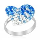 Blue & White Austrian Crystal Heart Ring in Sterling Silver (Size 8) Retail $96