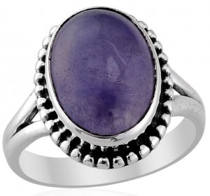 Artisan Crafted Purple Jade Ring in Sterling Silver Size 7 Retail $157