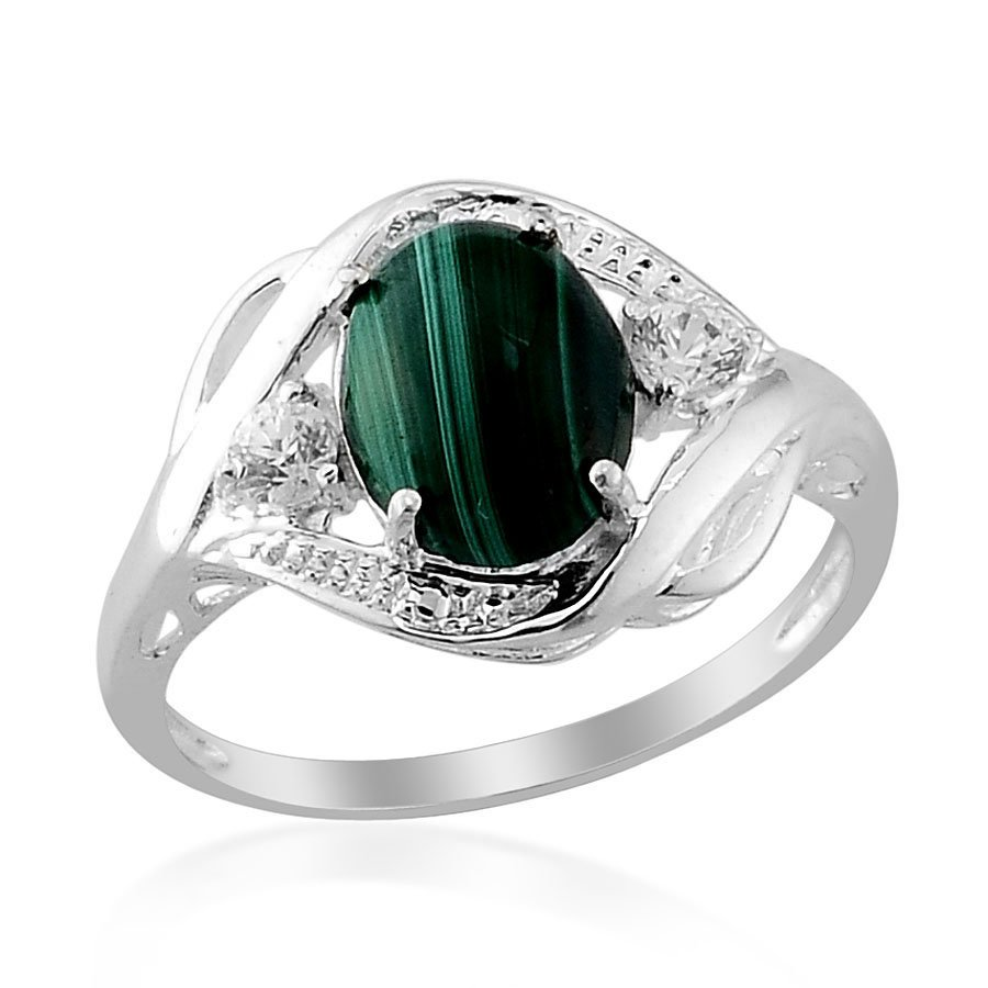 Malachite (Ovl 3.10 Ct), Simulated Diamond Ring in Sterling Silver (Size 9) TGW 3.58 cts. Retail $96
