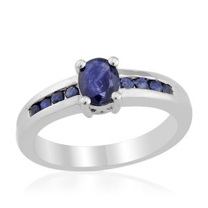 Kanchanaburi Blue Sapphire Ring (Oval 0.75 Ct) in Sterling Silver (Size 9) TGW 1.15 cts. Retail $250