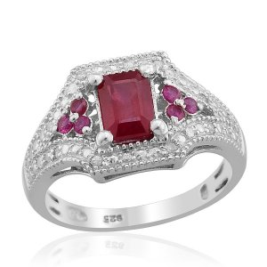 Ruby, Diamond Ring in Platinum Overlay Sterling Silver (Size9) Retail $235