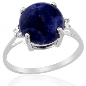 Sodalite Diamond Ring (Size 7) & Necklace Set in Sterling Silver