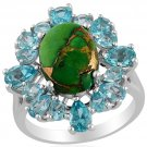 Mojave Green Turquoise, Paraiba Apatite Ring in Sterling Silver (Size 7) (Retail $395)