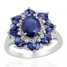 Kanchanaburi Blue Sapphire (Ovl 2.50 Ct), White Zircon Ring in Sterling Silver (Size 7)