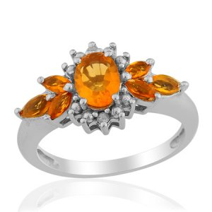 Jalisco Fire Opal, Diamond Ring in Sterling Silver (Size 7) TGW 1.02 cts. (Retail $188)