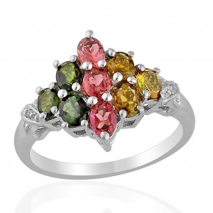 Green, Pink,  & Yellow Tourmaline, Diamond Ring, Sterling Silver (Size 7) TGW 1.39 cts.(Retail $188)