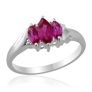 Lab Created Ruby 3 Stone Ring in Sterling Silver (Size 10) TGW 1.32 cts. $96