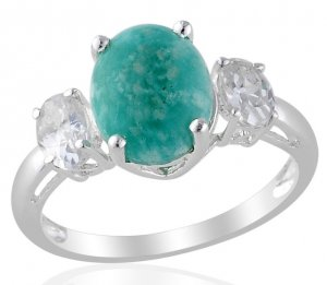 Russian Amazonite Ring in Sterling Silver Size 8 (Retail $96)