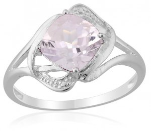 Rose De France Amethyst (Cush) Solitaire Ring in Sterling Silver (Size 5) TGW 2.00 cts. (Retail $96)