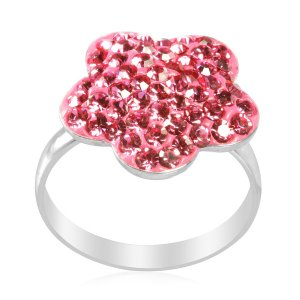 Pink Austrian Crystal (Round) Ring in Sterling Silver (Size 7)(Retail $76)