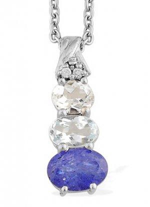 Tanzanite, Blue Topaz,, Aquamarine, Simulated Diamond Pendant Necklace
