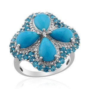 Arizona Sleeping Beauty Turquoise, Malgache Neon Apatite, Diamond Ring in Sterling Silver (Size 9)