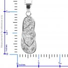 Flip Flop Simulated White Diamonds w/Chain in Sterling Silver