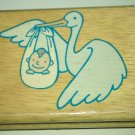 Stork & Baby Rubber Stamp (Large)