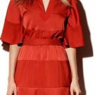 Vince Camuto Burnt Orange Satin Blouson Batwing Sleeve Belt Cocktail Dress Size 2 NEW