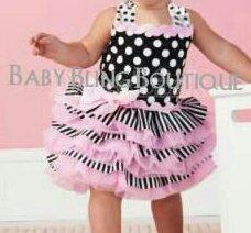 Polka Dot Black, Pink & White Tutu Dress Size 2T