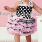 Polka Dot Black, Pink & White Tutu Dress Size 3T