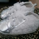 Baby Girl White & Silver Lace Shoes with Rose Pedals - Size 6-9 mo