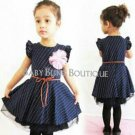 Navy Blue Polka Dot & White Dress Size 12-18 months w/leather-like tie belt