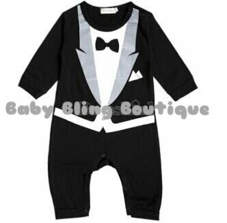 Boy's Black Painted-on Tuxedo-like One-piece button up outfit - Size 24 Months/2T