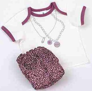 Cocalo Baby Girl's Re-usable/Washable Diaper & T-Shirt Gift Set Leopard Print Size Small