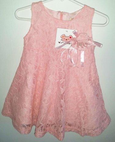 Girl's Pink Lace Dress Size 18 months Boutique Dress